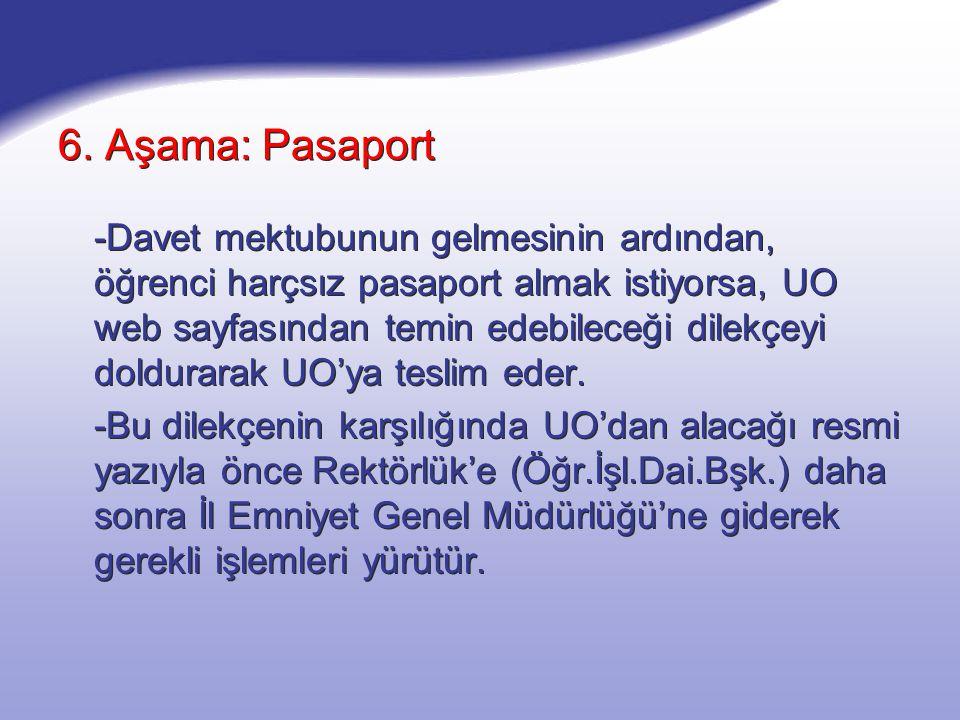 6. Aşama: Pasaport -Davet mektubunun gelmesinin ardından, öğrenci harçsız pasaport almak istiyorsa, UO web sayfasından temin edebileceği dilekçeyi dol
