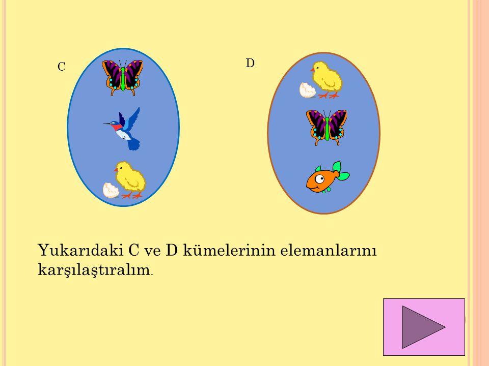 C D Yukarıdaki C ve D kümelerinin elemanlarını karşılaştıralım.