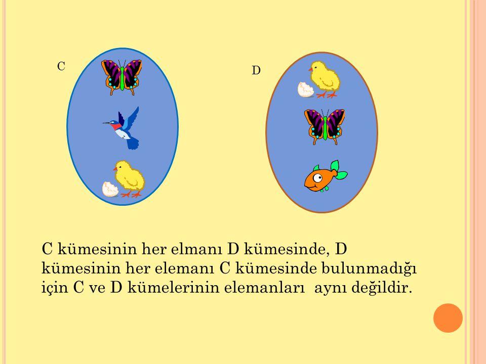 C D C kümesinin her elmanı D kümesinde, D kümesinin her elemanı C kümesinde bulunmadığı için C ve D kümelerinin elemanları aynı değildir.