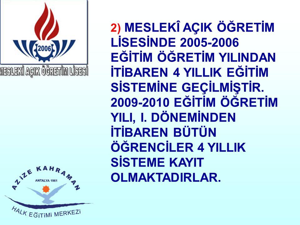2) MESLEKÎ AÇIK ÖĞRETİM LİSESİNDE 2005-2006 EĞİTİM ÖĞRETİM YILINDAN İTİBAREN 4 YILLIK EĞİTİM SİSTEMİNE GEÇİLMİŞTİR. 2009-2010 EĞİTİM ÖĞRETİM YILI, I.