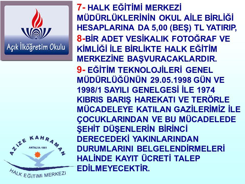 7- HALK EĞİTİMİ MERKEZİ MÜDÜRLÜKLERİNİN OKUL AİLE BİRLİĞİ HESAPLARINA DA 5,00 (BEŞ) TL YATIRIP, 8- BİR ADET VESİKALIK FOTOĞRAF VE KİMLİĞİ İLE BİRLİKTE