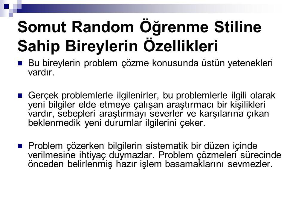 Somut Random Öğrenme Stiline Sahip Bireylerin Özellikleri Bu bireylerin problem çözme konusunda üstün yetenekleri vardır.