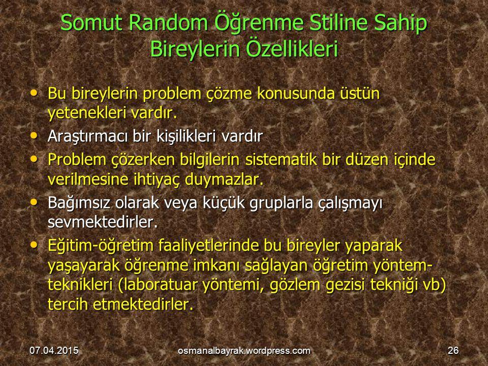 Somut Random Öğrenme Stiline Sahip Bireylerin Özellikleri Bu bireylerin problem çözme konusunda üstün yetenekleri vardır. Bu bireylerin problem çözme
