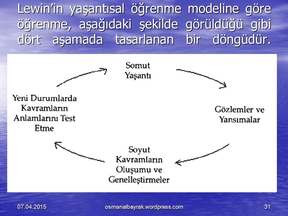 Lewin'in yaşantısal öğrenme modeline göre öğrenme, aşağıdaki şekilde görüldüğü gibi dört aşamada tasarlanan bir döngüdür. 07.04.2015osmanalbayrak.word