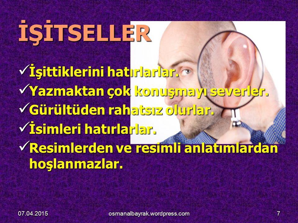 KOLB'UN ÖĞRENME STİLLERİ MODELİ KOLB'UN ÖĞRENME STİLLERİ MODELİ 07.04.201528osmanalbayrak.wordpress.com