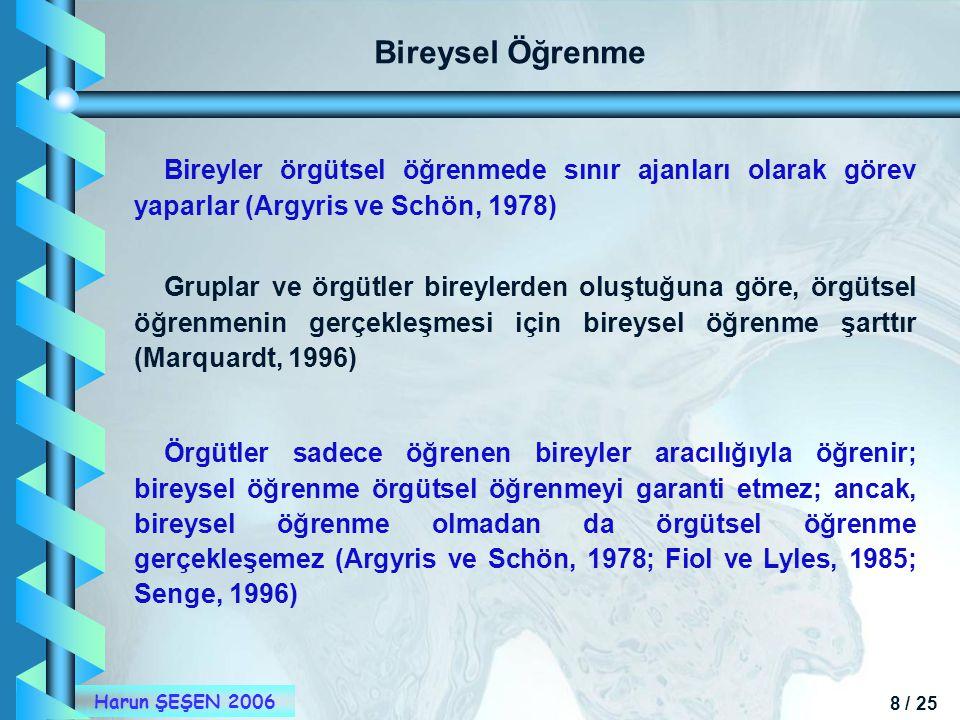 8 / 25 Harun ŞEŞEN 2006 Bireysel Öğrenme Bireyler örgütsel öğrenmede sınır ajanları olarak görev yaparlar (Argyris ve Schön, 1978) Gruplar ve örgütler