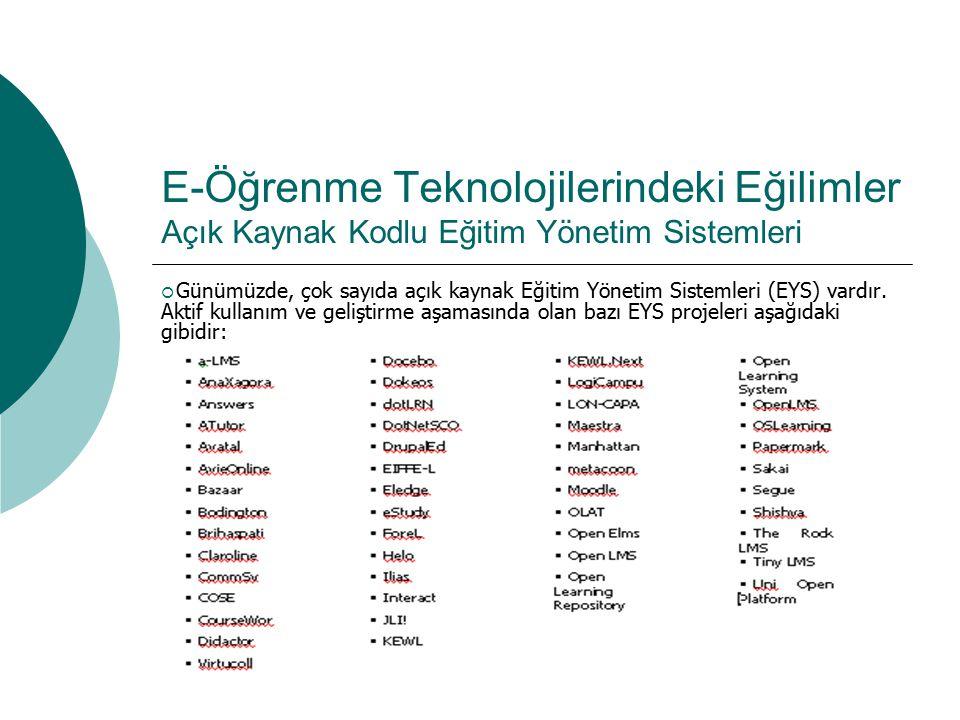 E-Öğrenme Teknolojilerindeki Eğilimler Açık Kaynak Kodlu Eğitim Yönetim Sistemleri  Günümüzde, çok sayıda açık kaynak Eğitim Yönetim Sistemleri (EYS)