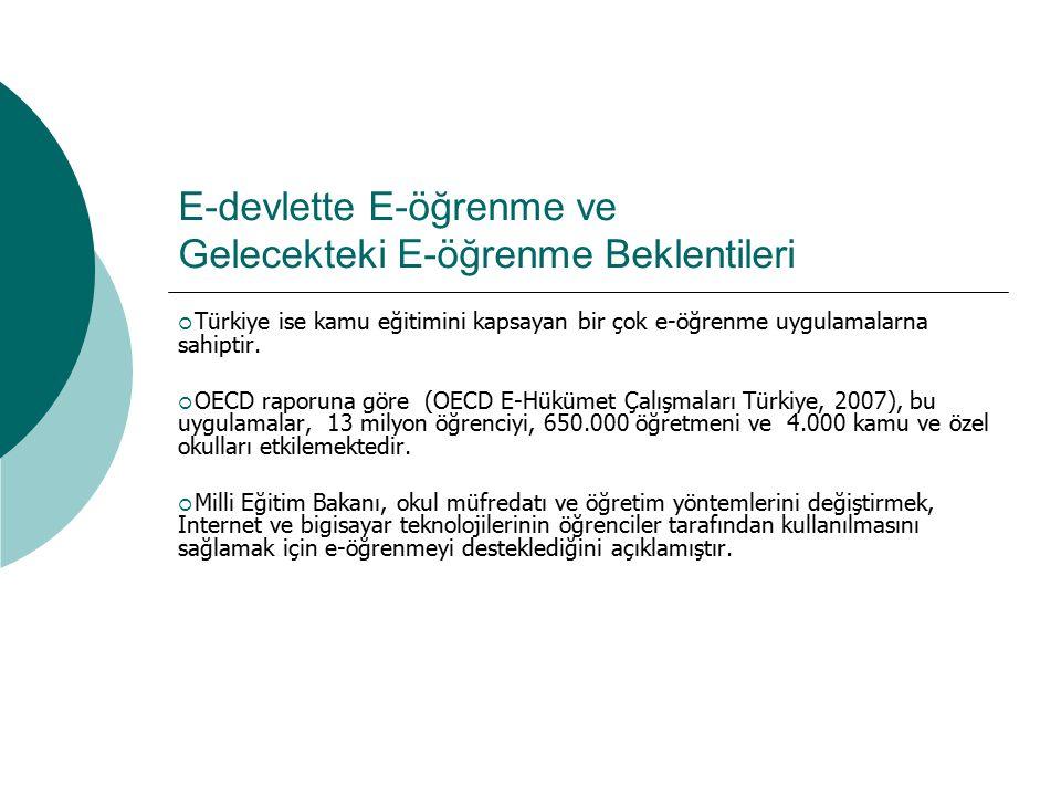 E-devlette E-öğrenme ve Gelecekteki E-öğrenme Beklentileri  Türkiye ise kamu eğitimini kapsayan bir çok e-öğrenme uygulamalarna sahiptir.