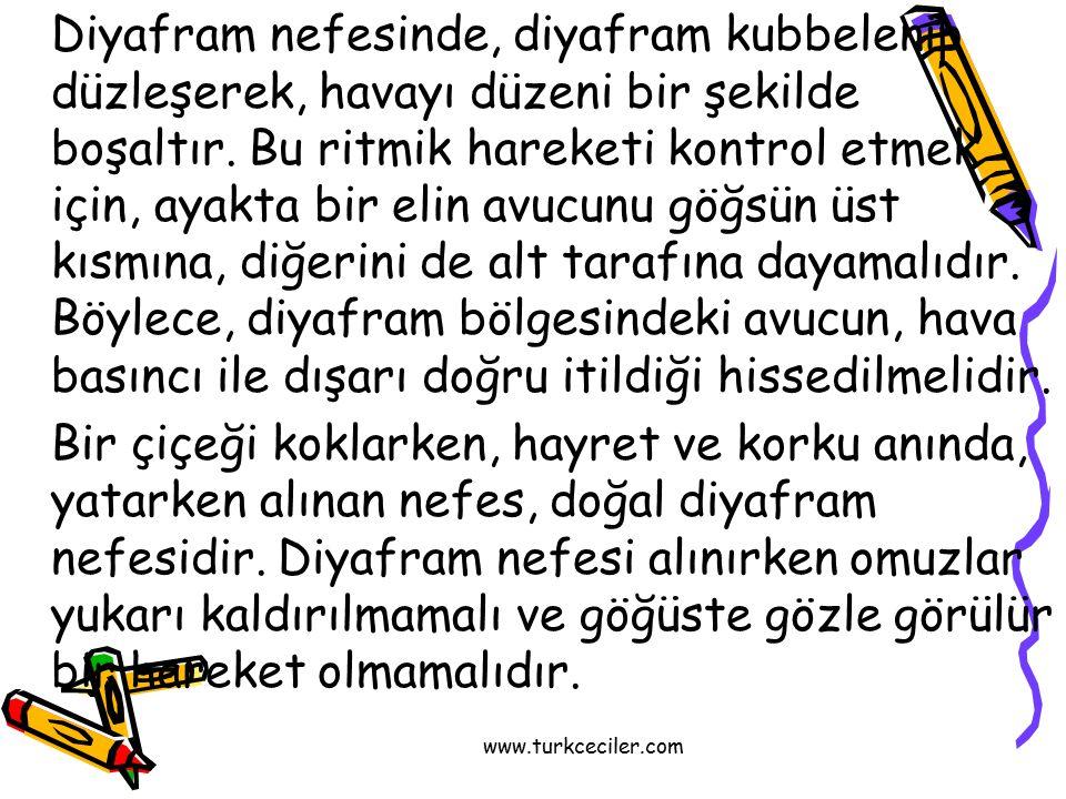 www.turkceciler.com Diyafram nefesinde, diyafram kubbelenip düzleşerek, havayı düzeni bir şekilde boşaltır.