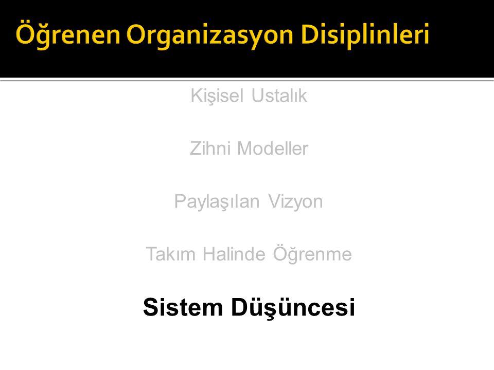 Örgütsel öğrenmenin gerçekleşmesi, sürekli gelişimin sağlanması, yetersizliklerin giderilmesi ve örgütün Öğrenen Organizasyon olabilmesi için bu 5 disiplinin örgütlerde yer alması gerekir.