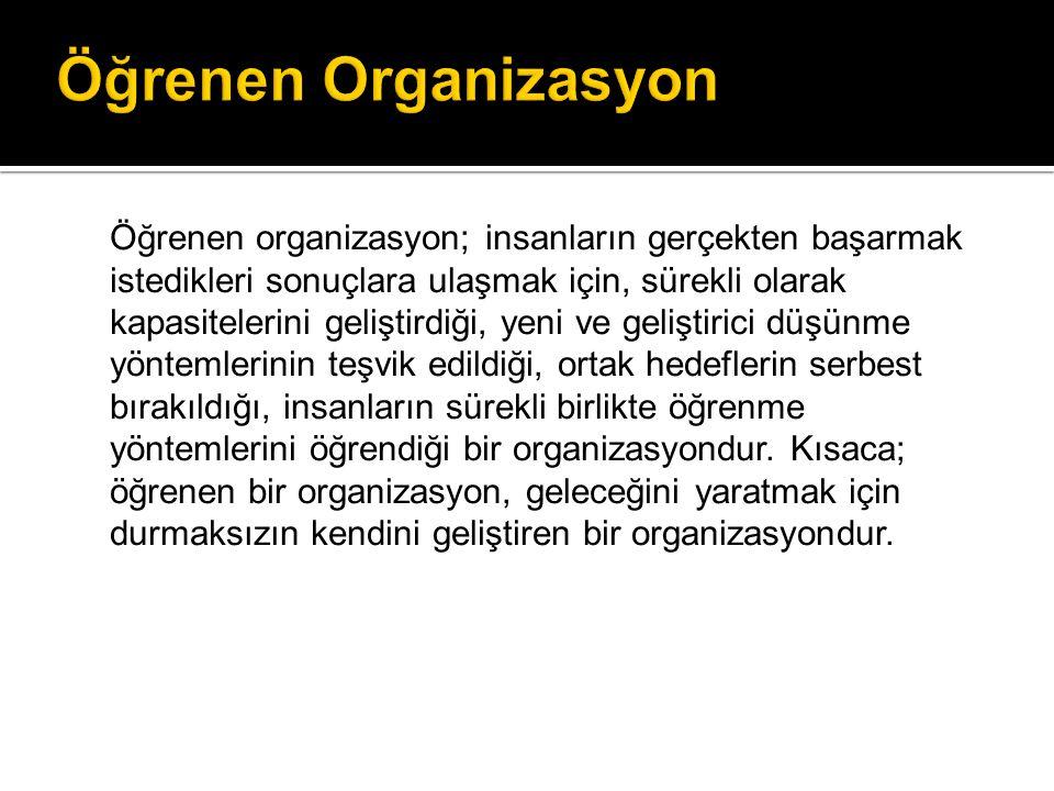 Öğrenen Organizasyonlar Düşünen Organizasyonlar Anlayan Organizasyonlar Bilen Organizasyonlar