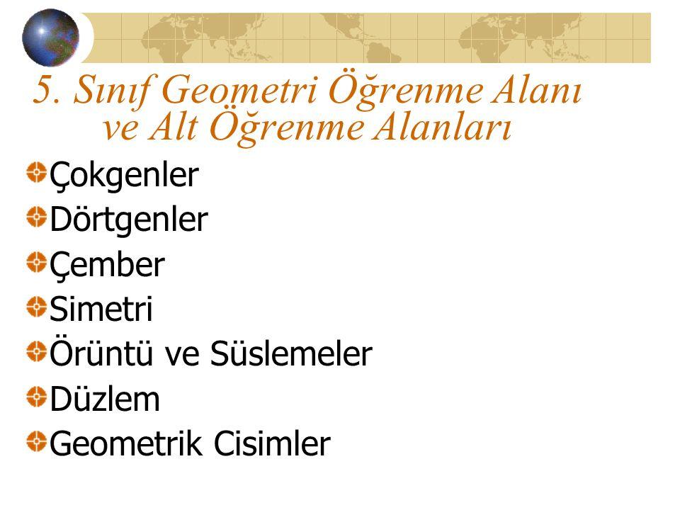 5. Sınıf Geometri Öğrenme Alanı ve Alt Öğrenme Alanları Çokgenler Dörtgenler Çember Simetri Örüntü ve Süslemeler Düzlem Geometrik Cisimler
