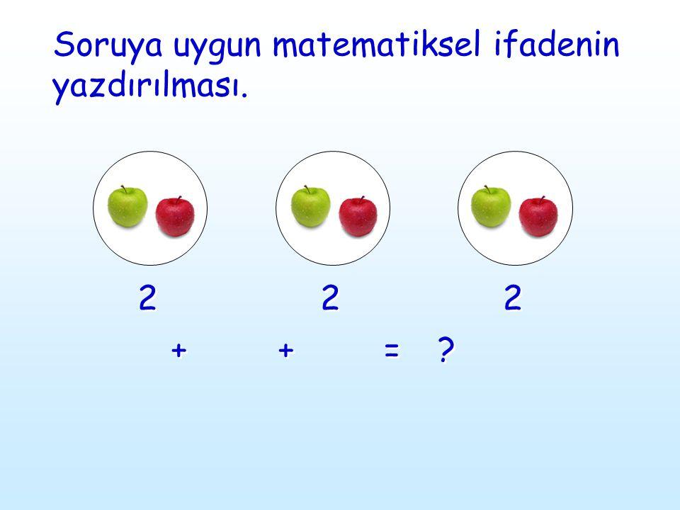2 2 + + 2 2 + + 2 2 = = ? ? Soruya uygun matematiksel ifadenin yazdırılması. Soruya uygun matematiksel ifadenin yazdırılması.