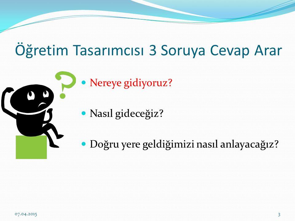 Öğretim Tasarımcısı 3 Soruya Cevap Arar Nereye gidiyoruz.