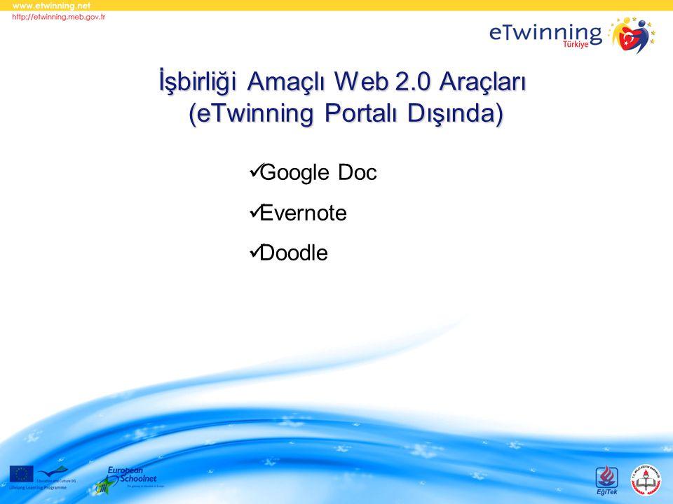 İşbirliği Amaçlı Web 2.0 Araçları (eTwinning Portalı Dışında) Google Doc Evernote Doodle