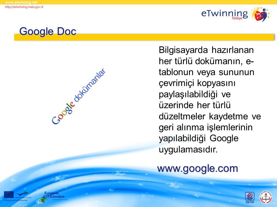 Bilgisayarda hazırlanan her türlü dokümanın, e- tablonun veya sununun çevrimiçi kopyasını paylaşılabildiği ve üzerinde her türlü düzeltmeler kaydetme ve geri alınma işlemlerinin yapılabildiği Google uygulamasıdır.