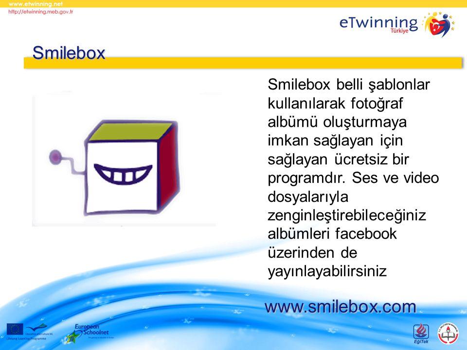 Smilebox belli şablonlar kullanılarak fotoğraf albümü oluşturmaya imkan sağlayan için sağlayan ücretsiz bir programdır. Ses ve video dosyalarıyla zeng