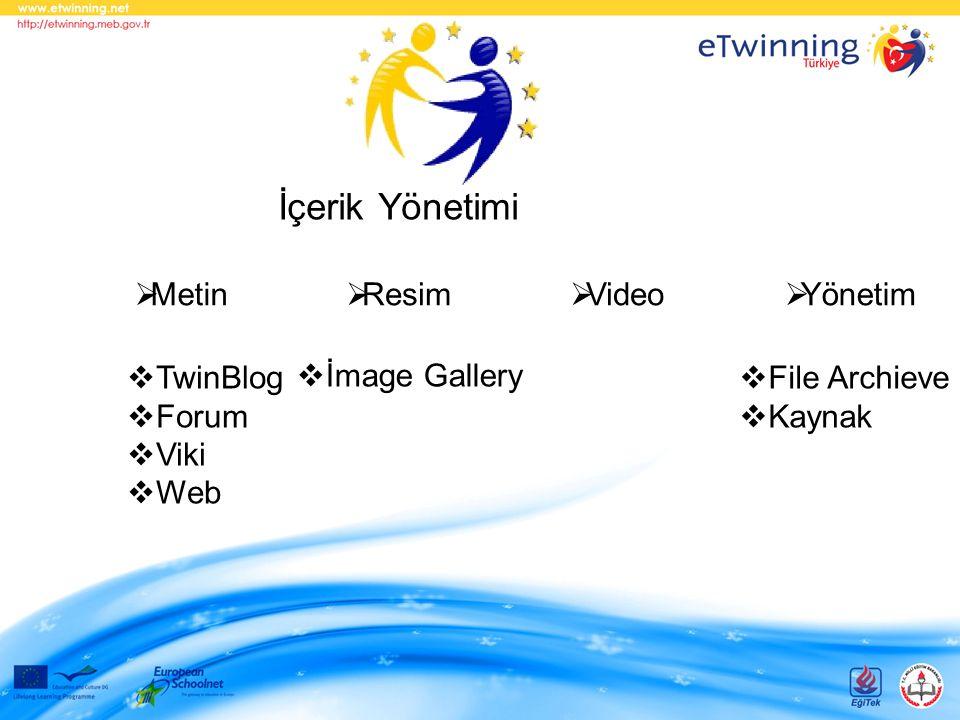 İçerik Yönetimi  Metin  Resim  Video  Yönetim  TwinBlog  Forum  Viki  Web  İmage Gallery  File Archieve  Kaynak