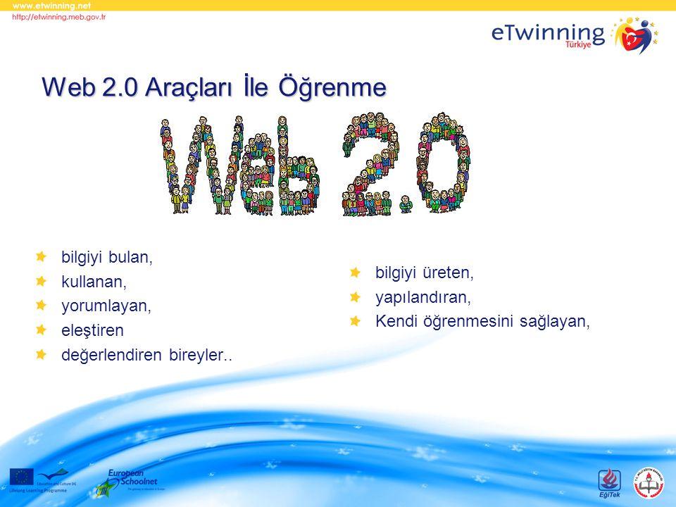 bilgiyi bulan, kullanan, yorumlayan, eleştiren değerlendiren bireyler.. Web 2.0 Araçları İle Öğrenme bilgiyi üreten, yapılandıran, Kendi öğrenmesini s