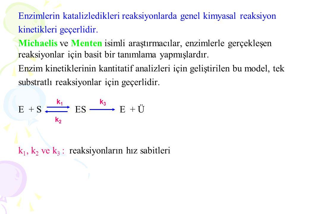 Enzimlerin katalizledikleri reaksiyonlarda genel kimyasal reaksiyon kinetikleri geçerlidir. Michaelis ve Menten isimli araştırmacılar, enzimlerle gerç