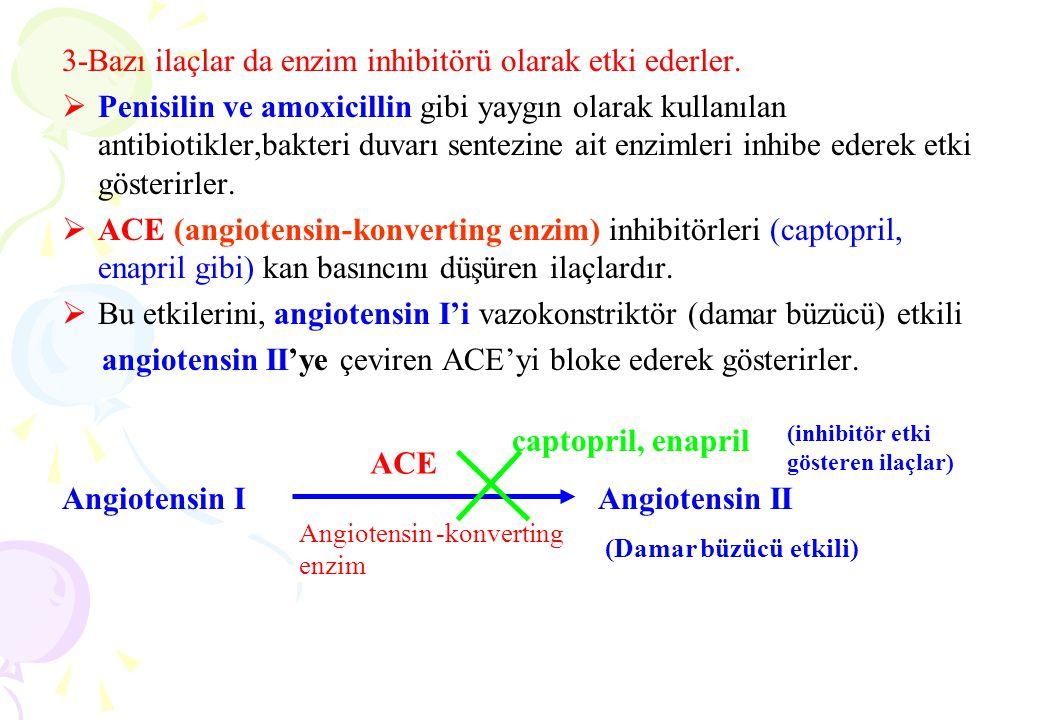 3-Bazı ilaçlar da enzim inhibitörü olarak etki ederler.  Penisilin ve amoxicillin gibi yaygın olarak kullanılan antibiotikler,bakteri duvarı sentezin