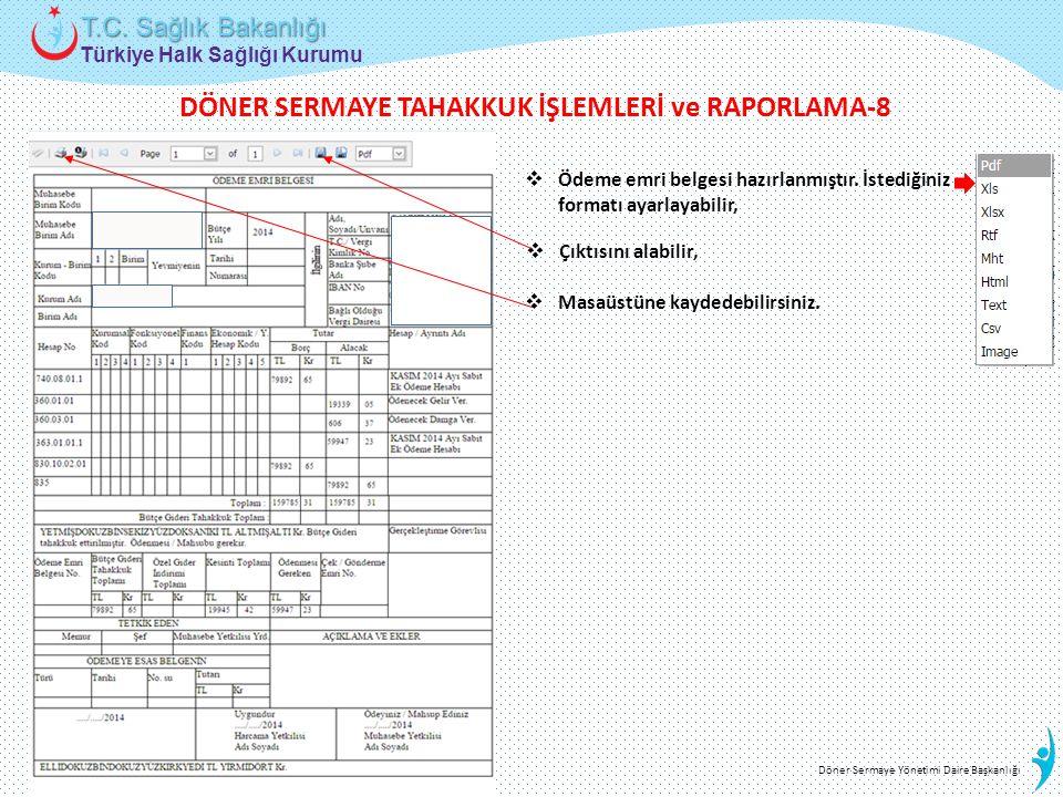 Türkiye Halk Sağlığı Kurumu T.C. Sağlık Bakanlığı Döner Sermaye Yönetimi Daire Başkanlığı  Ödeme emri belgesi hazırlanmıştır. İstediğiniz formatı aya