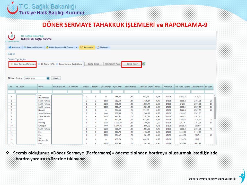 Türkiye Halk Sağlığı Kurumu T.C. Sağlık Bakanlığı Döner Sermaye Yönetimi Daire Başkanlığı  Seçmiş olduğunuz «Döner Sermaye (Performans)» ödeme tipind