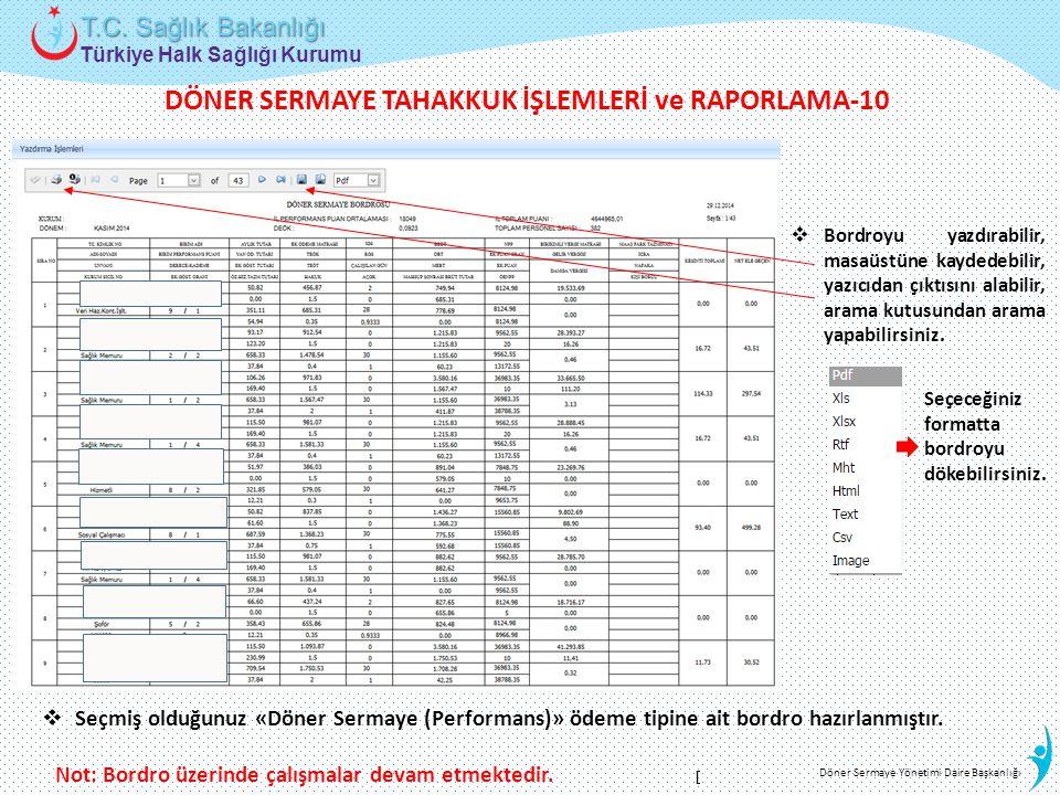 Türkiye Halk Sağlığı Kurumu T.C. Sağlık Bakanlığı Döner Sermaye Yönetimi Daire Başkanlığı  Seçmiş olduğunuz «Döner Sermaye (Performans)» ödeme tipine