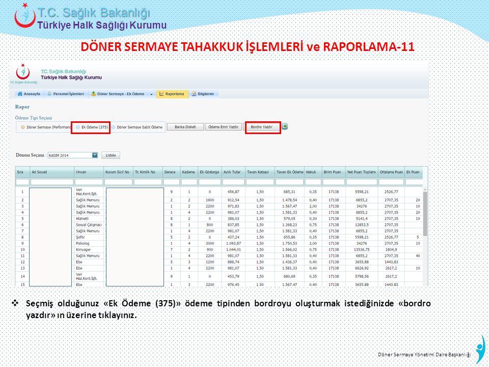 Türkiye Halk Sağlığı Kurumu T.C. Sağlık Bakanlığı Döner Sermaye Yönetimi Daire Başkanlığı  Seçmiş olduğunuz «Ek Ödeme (375)» ödeme tipinden bordroyu