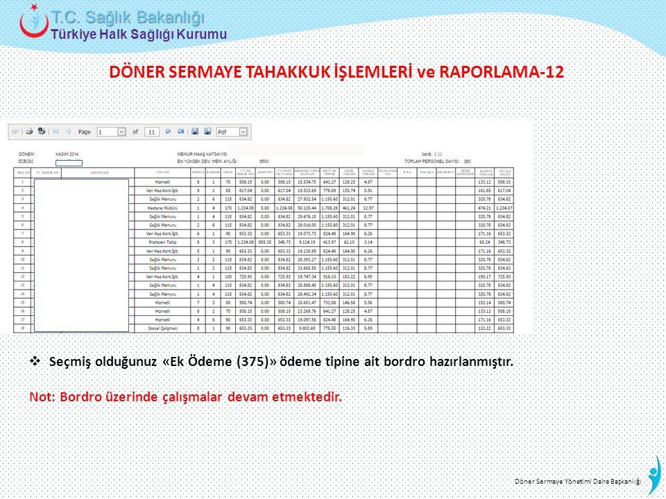 Türkiye Halk Sağlığı Kurumu T.C. Sağlık Bakanlığı Döner Sermaye Yönetimi Daire Başkanlığı  Seçmiş olduğunuz «Ek Ödeme (375)» ödeme tipine ait bordro