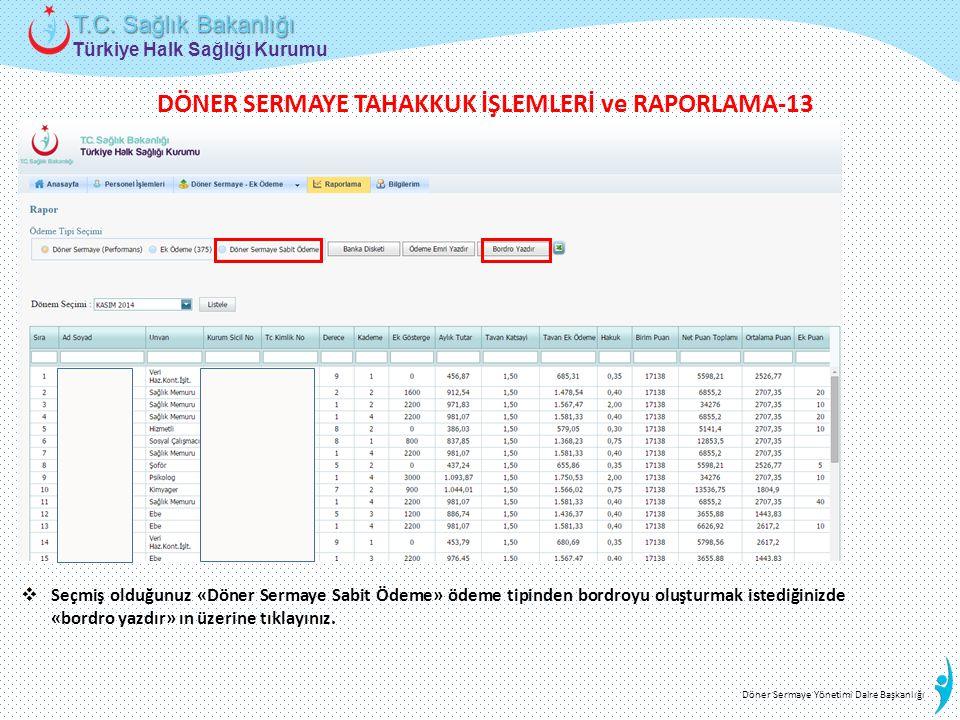 Türkiye Halk Sağlığı Kurumu T.C. Sağlık Bakanlığı Döner Sermaye Yönetimi Daire Başkanlığı  Seçmiş olduğunuz «Döner Sermaye Sabit Ödeme» ödeme tipinde