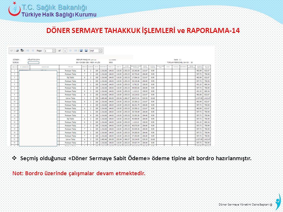 Türkiye Halk Sağlığı Kurumu T.C. Sağlık Bakanlığı Döner Sermaye Yönetimi Daire Başkanlığı  Seçmiş olduğunuz «Döner Sermaye Sabit Ödeme» ödeme tipine