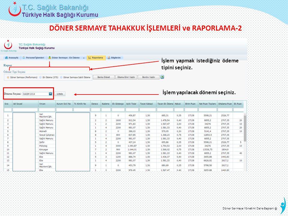 Türkiye Halk Sağlığı Kurumu T.C. Sağlık Bakanlığı Döner Sermaye Yönetimi Daire Başkanlığı İşlem yapmak istediğiniz ödeme tipini seçiniz. İşlem yapılac