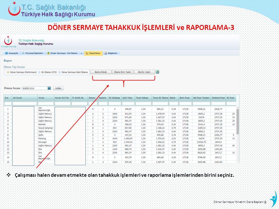 Türkiye Halk Sağlığı Kurumu T.C. Sağlık Bakanlığı Döner Sermaye Yönetimi Daire Başkanlığı  Çalışması halen devam etmekte olan tahakkuk işlemleri ve r