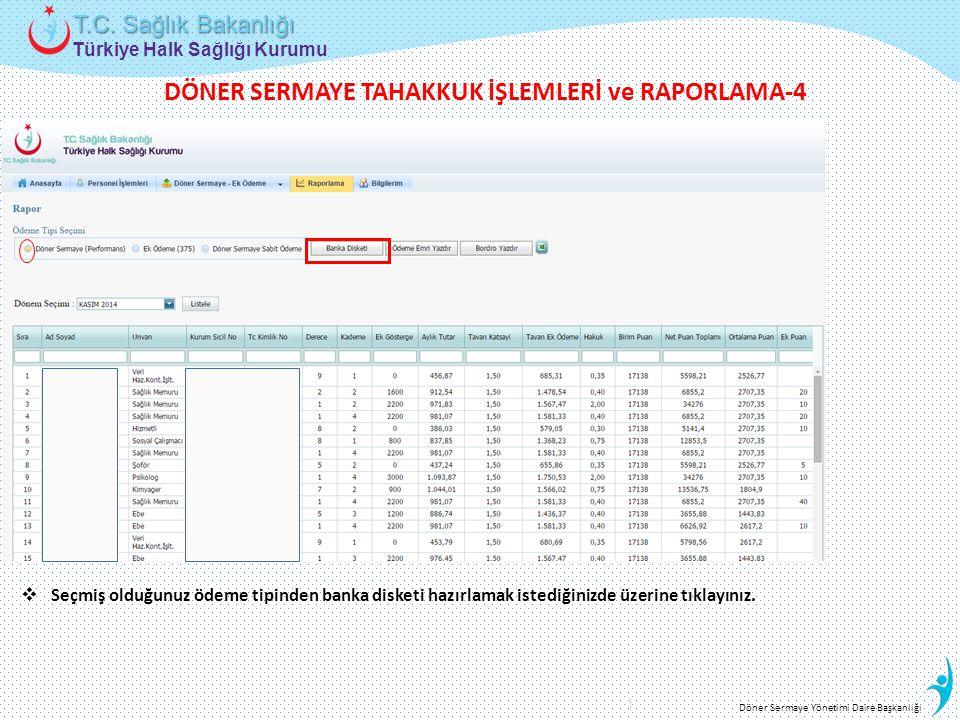 Türkiye Halk Sağlığı Kurumu T.C. Sağlık Bakanlığı Döner Sermaye Yönetimi Daire Başkanlığı  Seçmiş olduğunuz ödeme tipinden banka disketi hazırlamak i