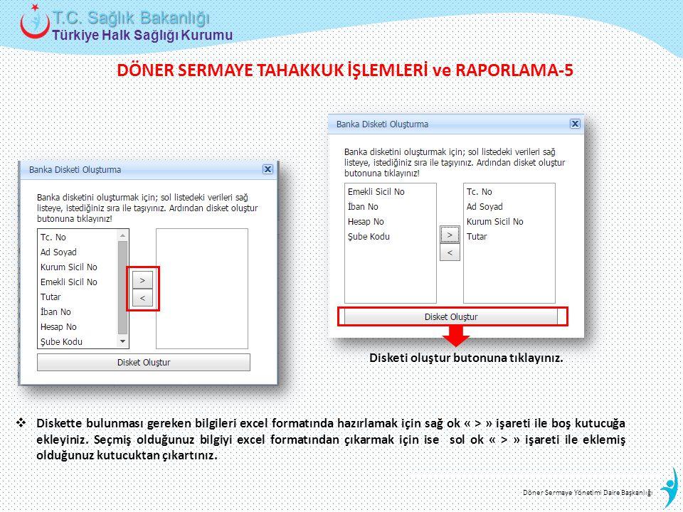 Türkiye Halk Sağlığı Kurumu T.C. Sağlık Bakanlığı Döner Sermaye Yönetimi Daire Başkanlığı  Diskette bulunması gereken bilgileri excel formatında hazı