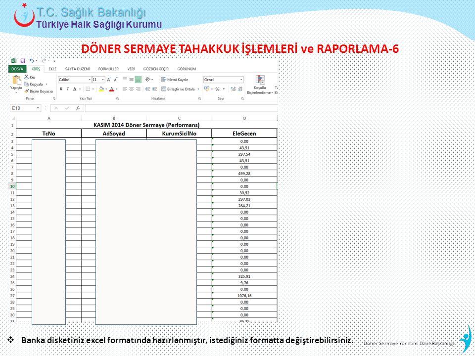 Türkiye Halk Sağlığı Kurumu T.C. Sağlık Bakanlığı Döner Sermaye Yönetimi Daire Başkanlığı  Banka disketiniz excel formatında hazırlanmıştır, istediği
