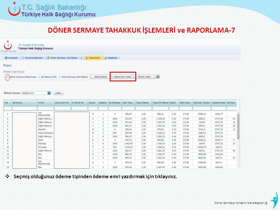 Türkiye Halk Sağlığı Kurumu T.C. Sağlık Bakanlığı Döner Sermaye Yönetimi Daire Başkanlığı  Seçmiş olduğunuz ödeme tipinden ödeme emri yazdırmak için