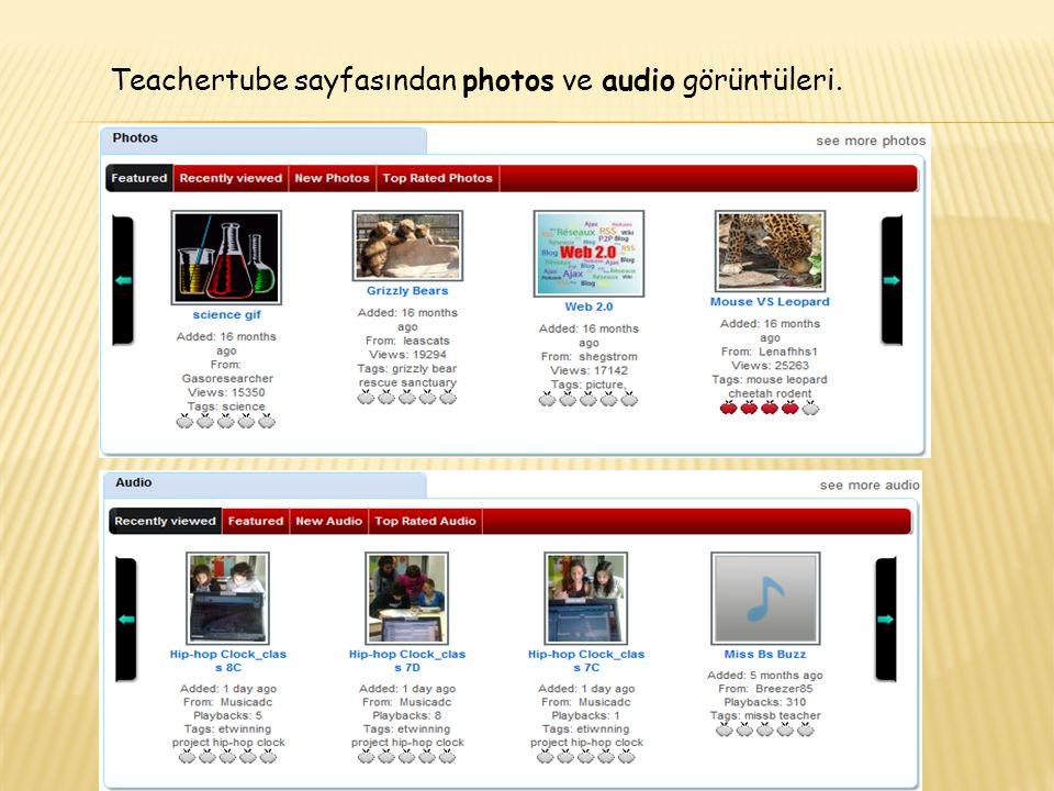 Teachertube sayfasından photos ve audio görüntüleri.