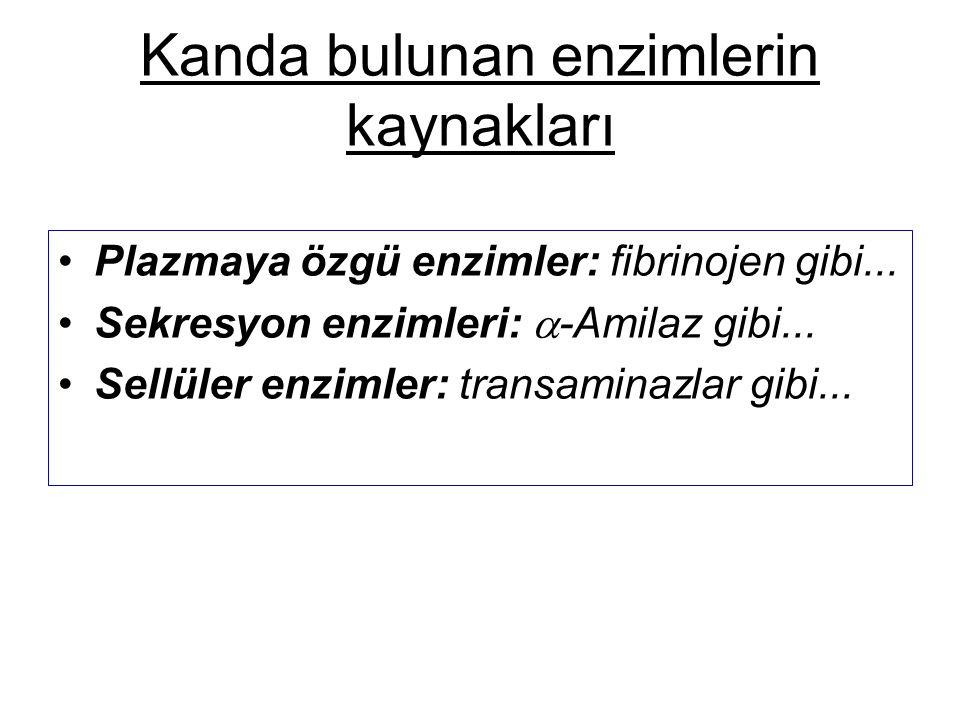 Kanda bulunan enzimlerin kaynakları Plazmaya özgü enzimler: fibrinojen gibi... Sekresyon enzimleri:  -Amilaz gibi... Sellüler enzimler: transaminazla