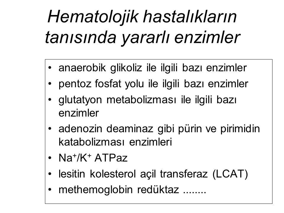 Hematolojik hastalıkların tanısında yararlı enzimler anaerobik glikoliz ile ilgili bazı enzimler pentoz fosfat yolu ile ilgili bazı enzimler glutatyon
