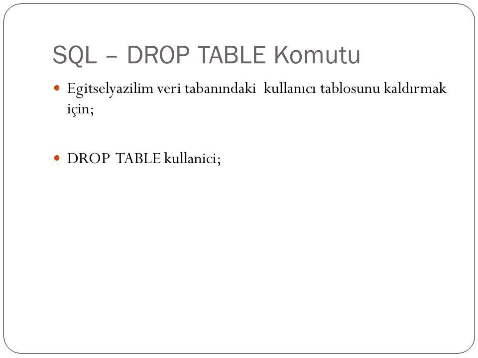 SQL – DROP TABLE Komutu Egitselyazilim veri tabanındaki kullanıcı tablosunu kaldırmak için; DROP TABLE kullanici;
