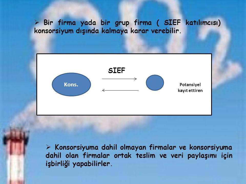 Kons. Potansiyel kayıt ettiren  Bir firma yada bir grup firma ( SIEF katılımcısı) konsorsiyum dışında kalmaya karar verebilir.  Konsorsiyuma dahil o
