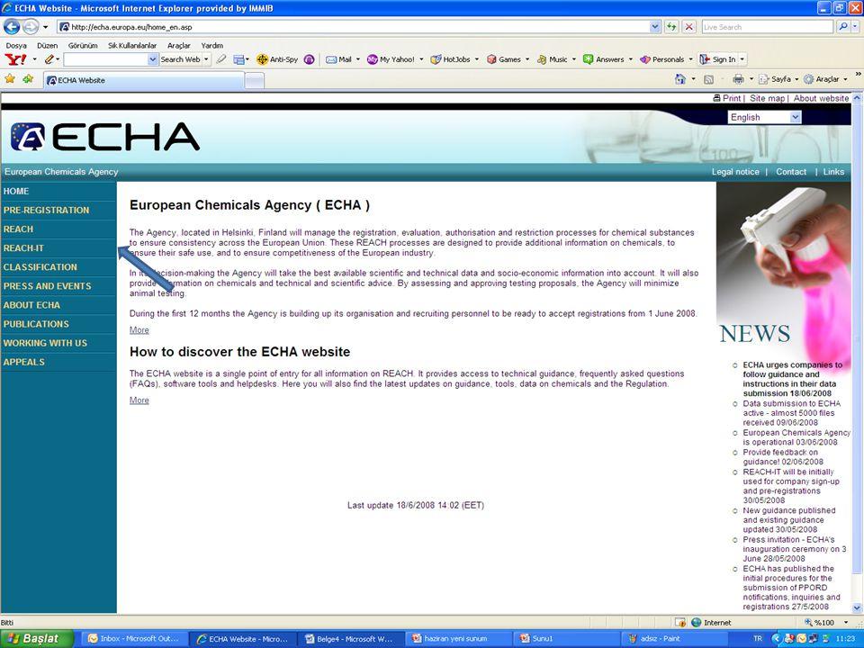 Ön-kayıt Ettirilen Maddelerin Listesi ECHA tarafından 1.1.2009 tarihinde yayınlanacaktır.