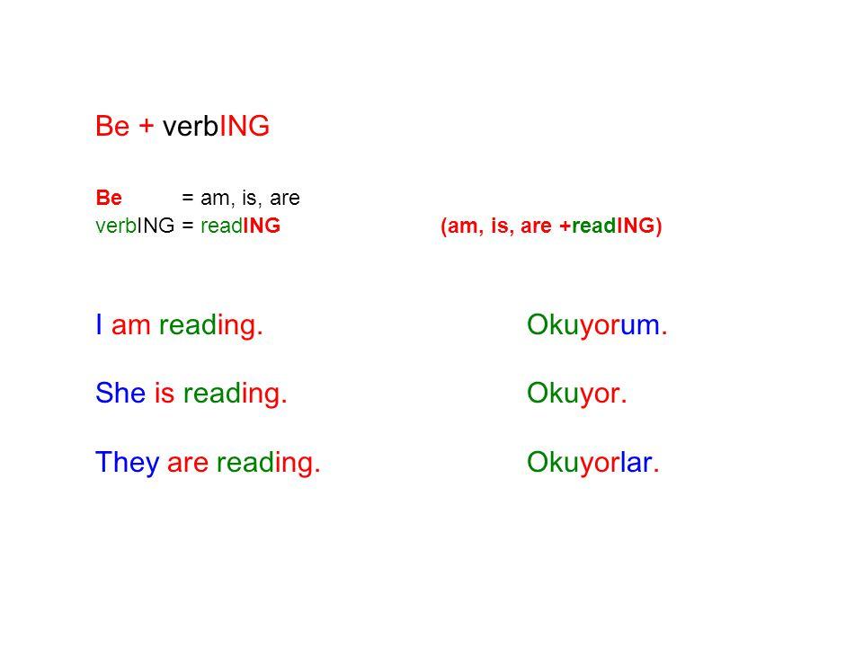 Be + verbING Be = am, is, are BE +verbING = BE am, is, are +playING I am playing.Oynuyorum.