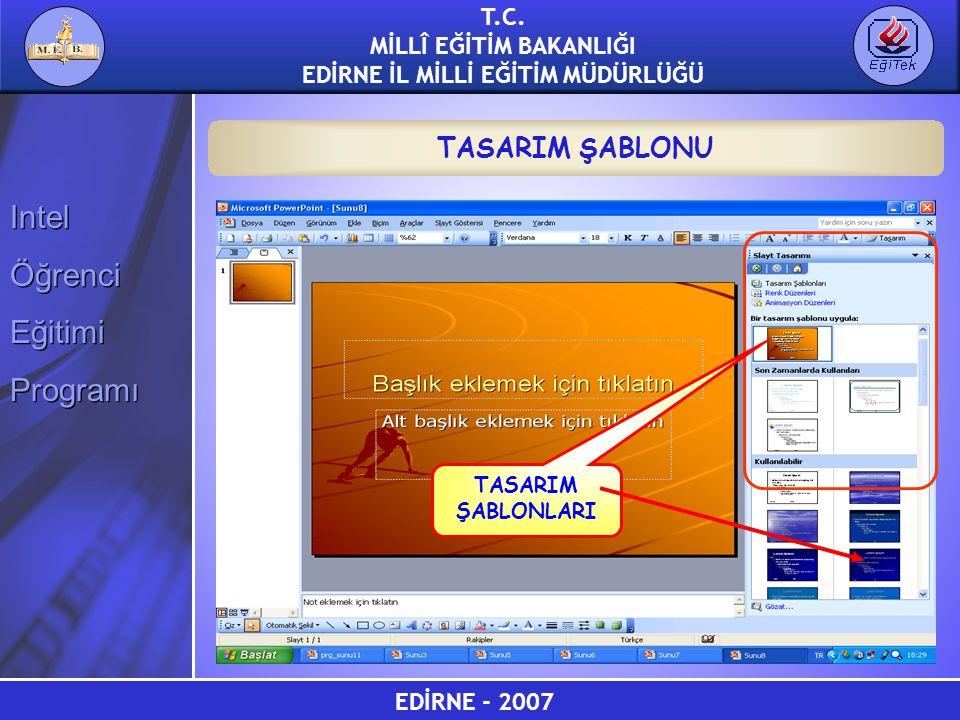 EDİRNE - 2007 T.C. MİLLÎ EĞİTİM BAKANLIĞI EDİRNE İL MİLLİ EĞİTİM MÜDÜRLÜĞÜ Intel Öğrenci Eğitimi Programı Intel Öğrenci Eğitimi Programı TASARIM ŞABLO