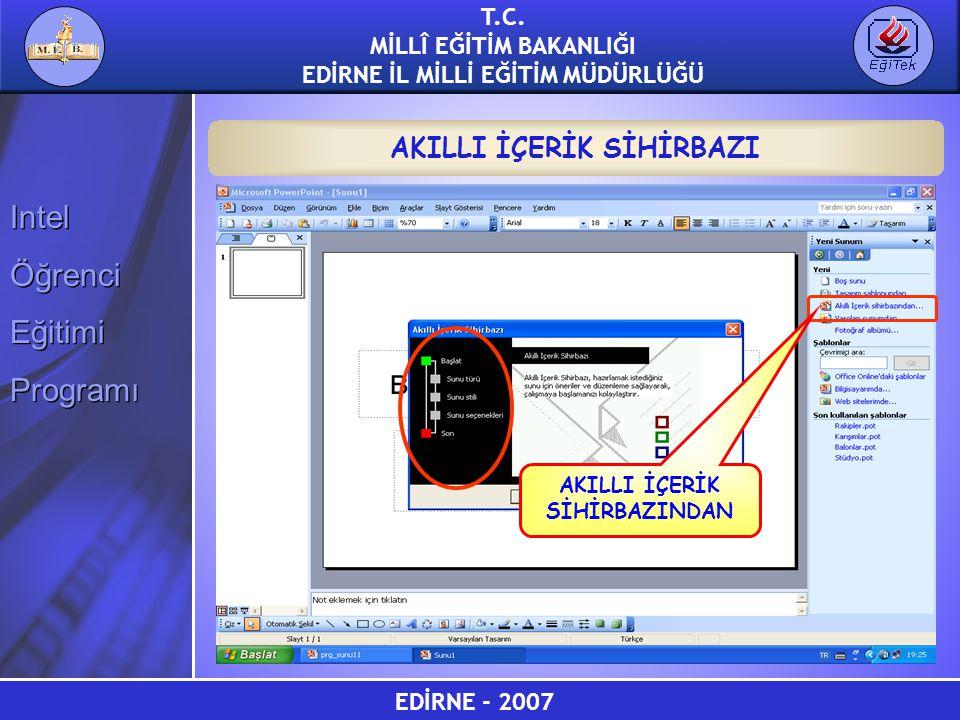 EDİRNE - 2007 T.C. MİLLÎ EĞİTİM BAKANLIĞI EDİRNE İL MİLLİ EĞİTİM MÜDÜRLÜĞÜ Intel Öğrenci Eğitimi Programı Intel Öğrenci Eğitimi Programı AKILLI İÇERİK