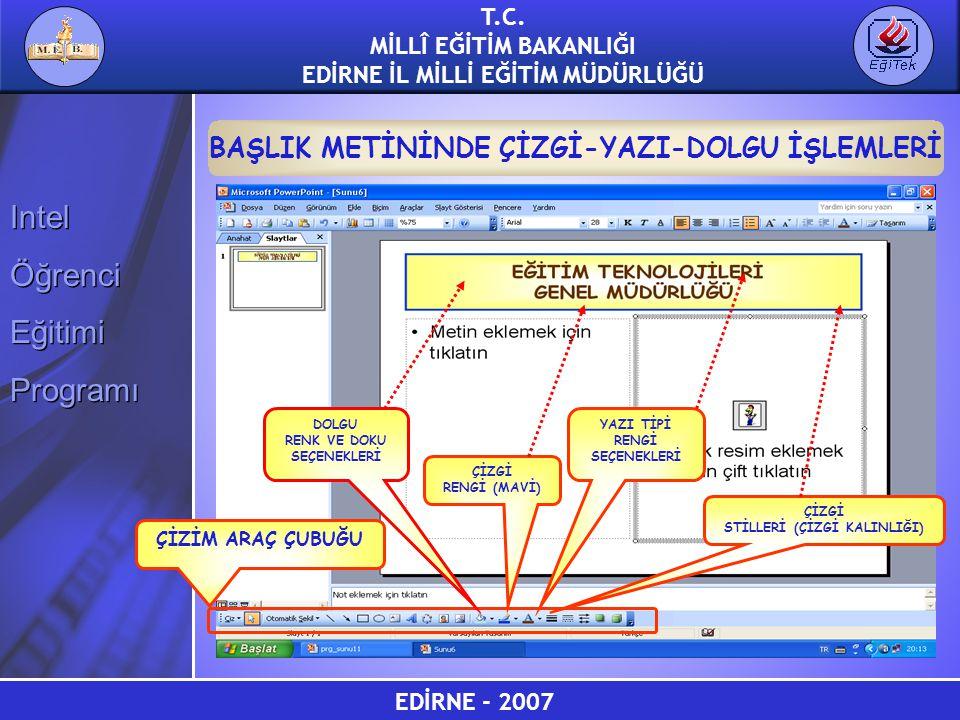 EDİRNE - 2007 T.C. MİLLÎ EĞİTİM BAKANLIĞI EDİRNE İL MİLLİ EĞİTİM MÜDÜRLÜĞÜ Intel Öğrenci Eğitimi Programı Intel Öğrenci Eğitimi Programı BAŞLIK METİNİ