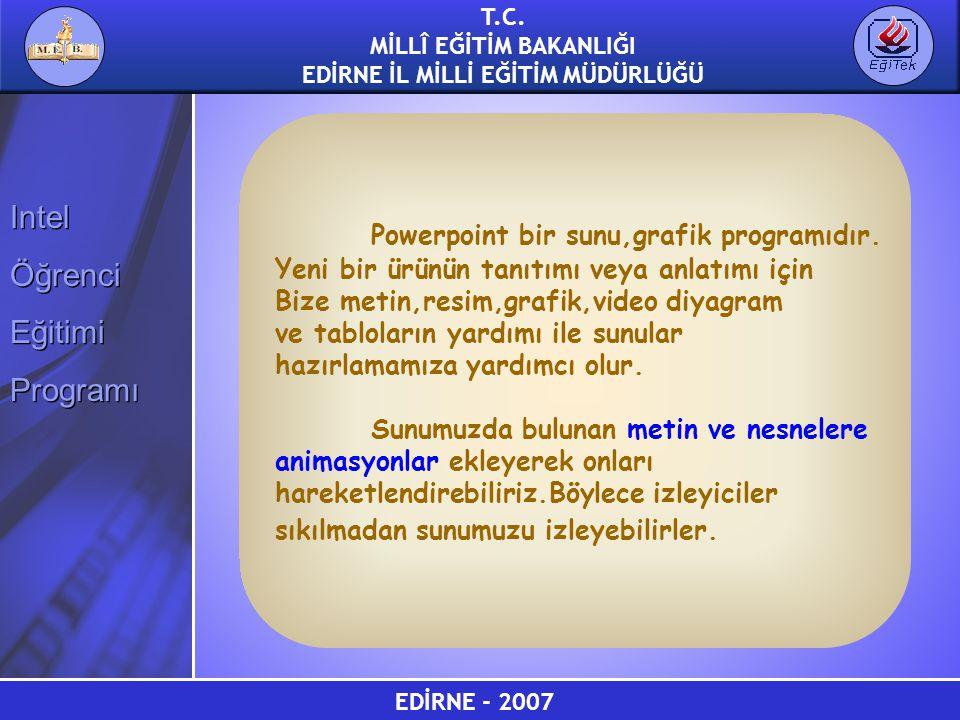 EDİRNE - 2007 T.C. MİLLÎ EĞİTİM BAKANLIĞI EDİRNE İL MİLLİ EĞİTİM MÜDÜRLÜĞÜ Intel Öğrenci Eğitimi Programı Intel Öğrenci Eğitimi Programı Powerpoint bi