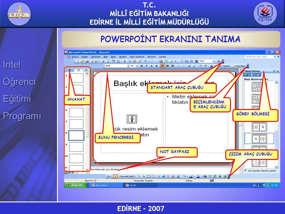 EDİRNE - 2007 T.C. MİLLÎ EĞİTİM BAKANLIĞI EDİRNE İL MİLLİ EĞİTİM MÜDÜRLÜĞÜ Intel Öğrenci Eğitimi Programı Intel Öğrenci Eğitimi Programı POWERPOİNT EK